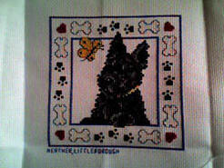 Cross stitch square for Teddy T's quilt
