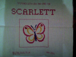 Cross stitch square for Scarlett B's quilt
