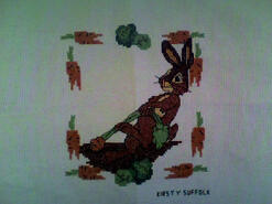 Cross stitch square for (*) KAT HAS 12 Rabbits's quilt