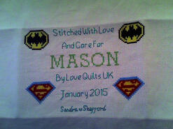 Cross stitch square for Mason C's quilt
