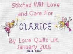Cross stitch square for Clarice P's quilt