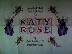 Cross stitch square for Katy Rose's quilt