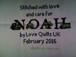 Cross stitch square for Noah G's quilt