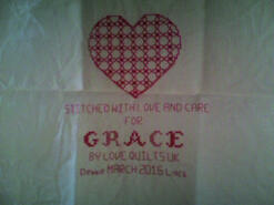 Cross stitch square for Grace W's quilt