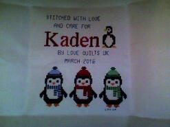 Cross stitch square for Kaden B's quilt