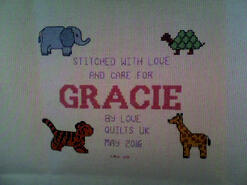 Cross stitch square for Gracie R's quilt