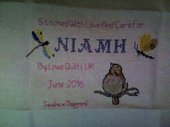 Cross stitch square for Niamh R's quilt