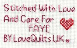 Cross stitch square for Faye B's quilt
