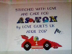 Cross stitch square for Aston B's quilt