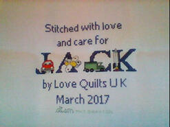 Cross stitch square for Jack M's quilt
