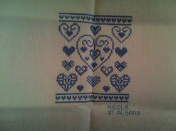 Cross stitch square for Romilly's quilt
