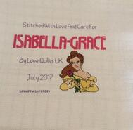 Cross stitch square for Isabella Grace H's quilt