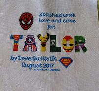 Cross stitch square for Taylor K's quilt