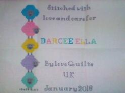 Cross stitch square for Darcee Ella C's quilt