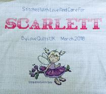Cross stitch square for Scarlett L's quilt