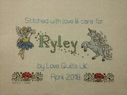 Cross stitch square for Ryley M's quilt
