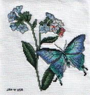 Cross stitch square for Forget-Me-Not Quilt's quilt