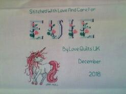 Cross stitch square for Evie R's quilt