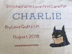 Cross stitch square for Charlie M's quilt