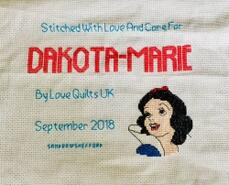 Cross stitch square for Dakota-Marie's quilt
