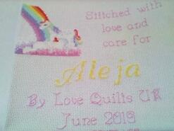 Cross stitch square for Aleja M's quilt