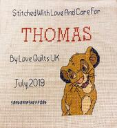 Cross stitch square for Thomas B's quilt