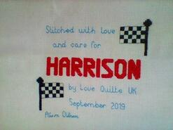 Cross stitch square for Harrison H's quilt