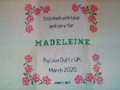 Cross stitch square for Madeleine A's quilt
