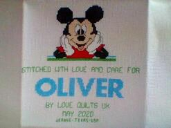 Cross stitch square for Oliver W's quilt