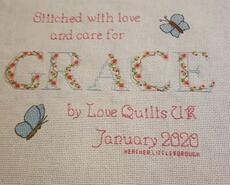 Cross stitch square for Grace's quilt