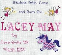 Cross stitch square for Lacey-May B's quilt