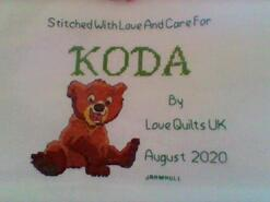 Cross stitch square for Koda Q's quilt