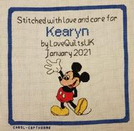 Cross stitch square for Kearyn A's quilt