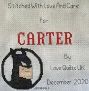 Cross stitch square for Carter G's quilt