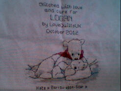 Cross stitch square for Logan M's quilt