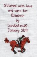 Cross stitch square for Elizabeth A's quilt