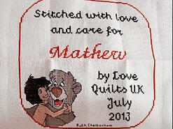 Cross stitch square for Mathew H's quilt