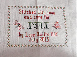 Cross stitch square for Imogen A's quilt