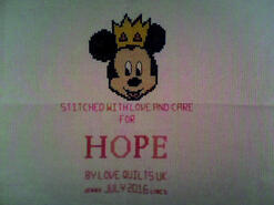 Cross stitch square for Hope S's quilt
