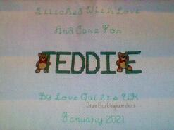 Cross stitch square for Teddie D's quilt