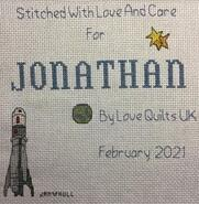 Cross stitch square for Jonathan J's quilt